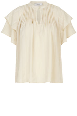 Escalate pin tuck pleat detail high neck blouse in off white colourway by Munthe