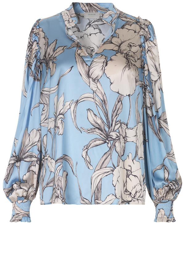 Munthe Tabuc Floral Print blouse in pale blue