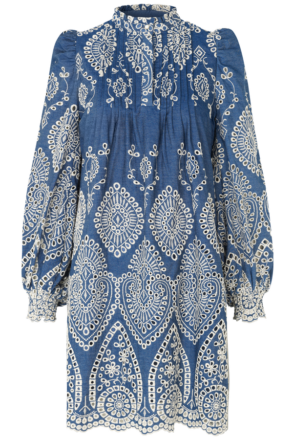 Munthe Tepic Embroidered dress in blue www.precious-london.com