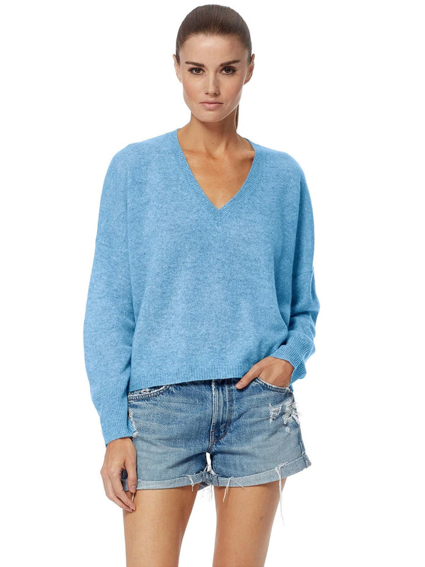 Marina deep V-neck blue cashmere sweater with ribbed trims by 360 Cashmere
