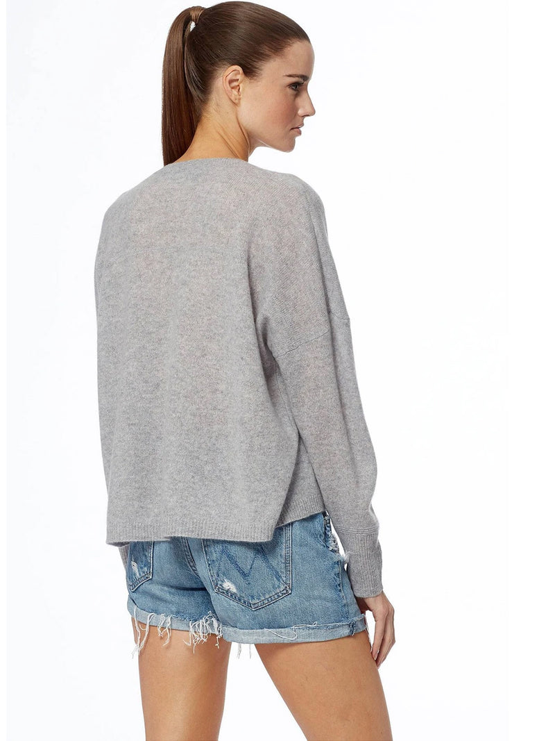 Marina deep V-neck grey cashmere sweater with ribbed trims by 360 Cashmere