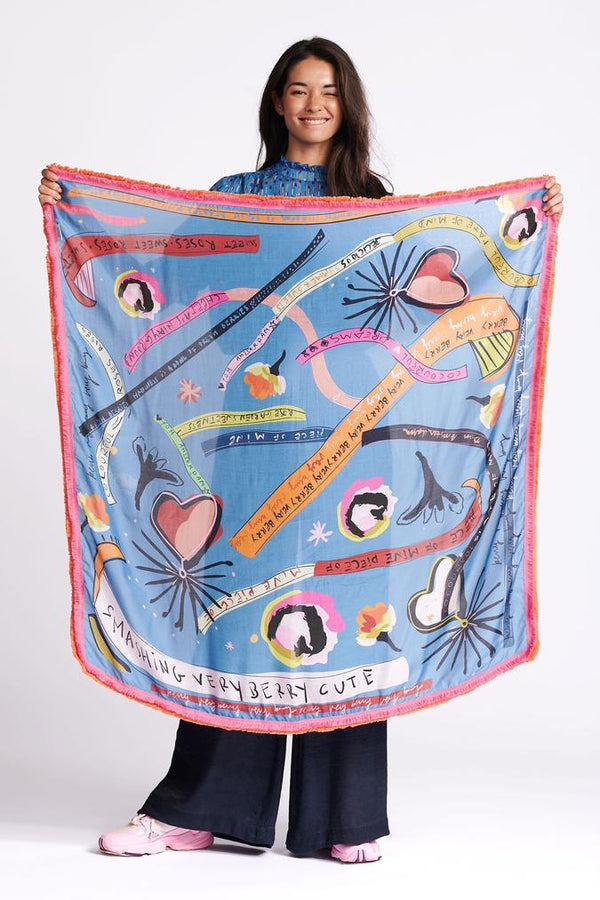 Pom Amsterdam Colourful Dreams Scarf in Blue