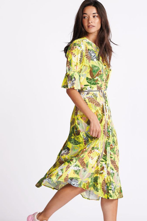 Pom Amsterdam Jungle Beats Dress in Lemon