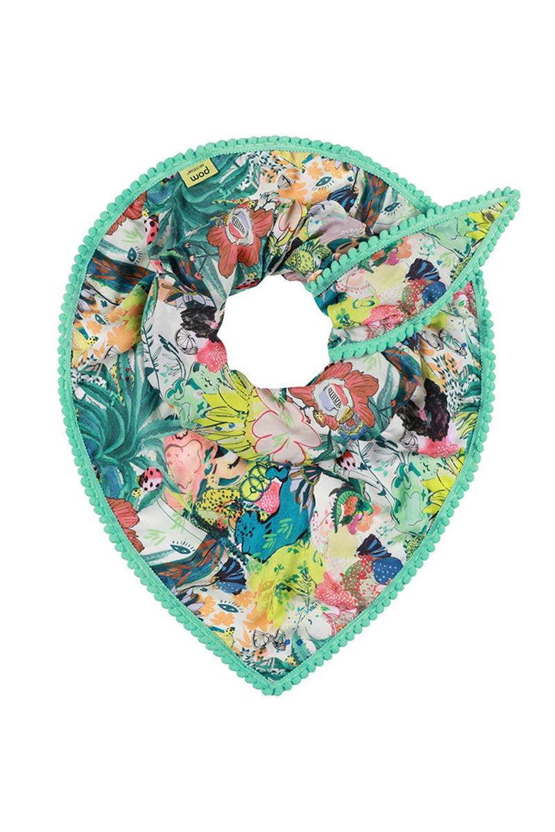 POM World of Luck scarf in asymmetrical triangular shawl shape featuring colourful floral print.