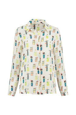 POM Lucky Charms ecru printed button front blouse with mid wrist cropped sleeve