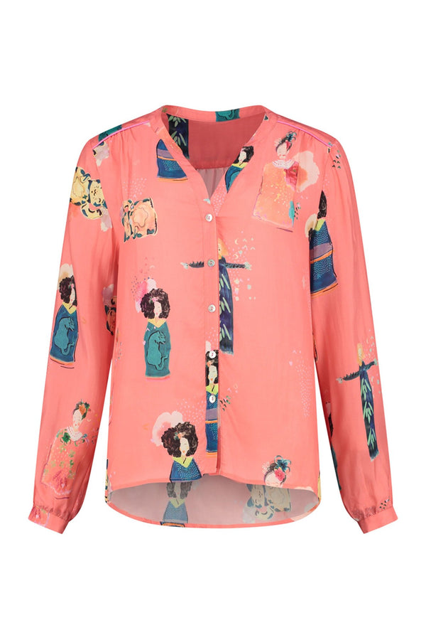 POM Lucky Charms coral printed button front blouse with mid wrist cropped sleeve