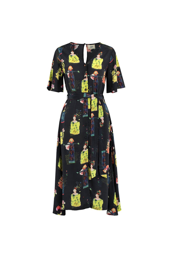 POM dark blue midi dress in hand-painted lucky dolls and waving cat print
