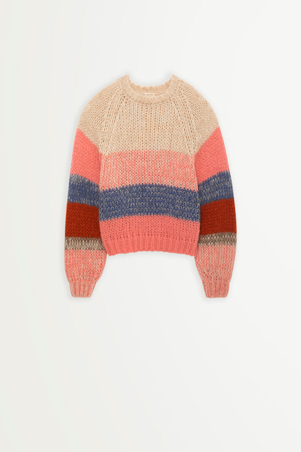 Suncoo Pedro crew neck sweater with pastel mix stripes