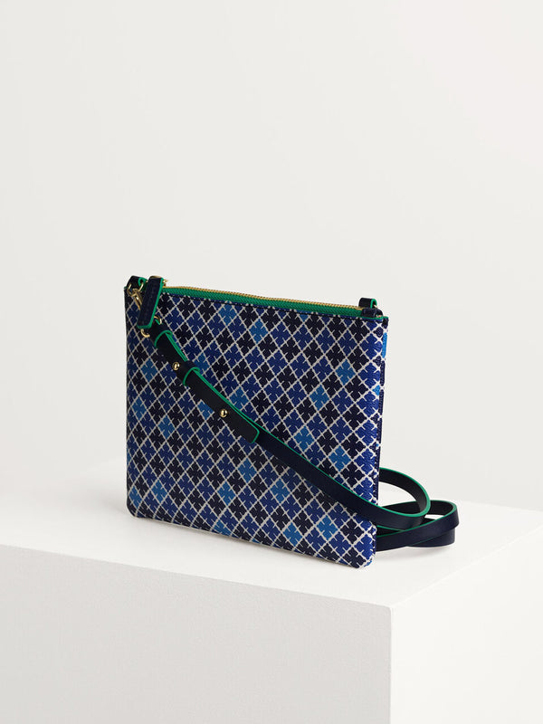 BMB Ivy mini pouch bag printed with the brand's signature geometric flower motif