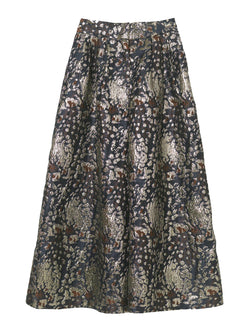 By Malene Birger metallic gold and dark blue jacquard maxi wide leg trousers