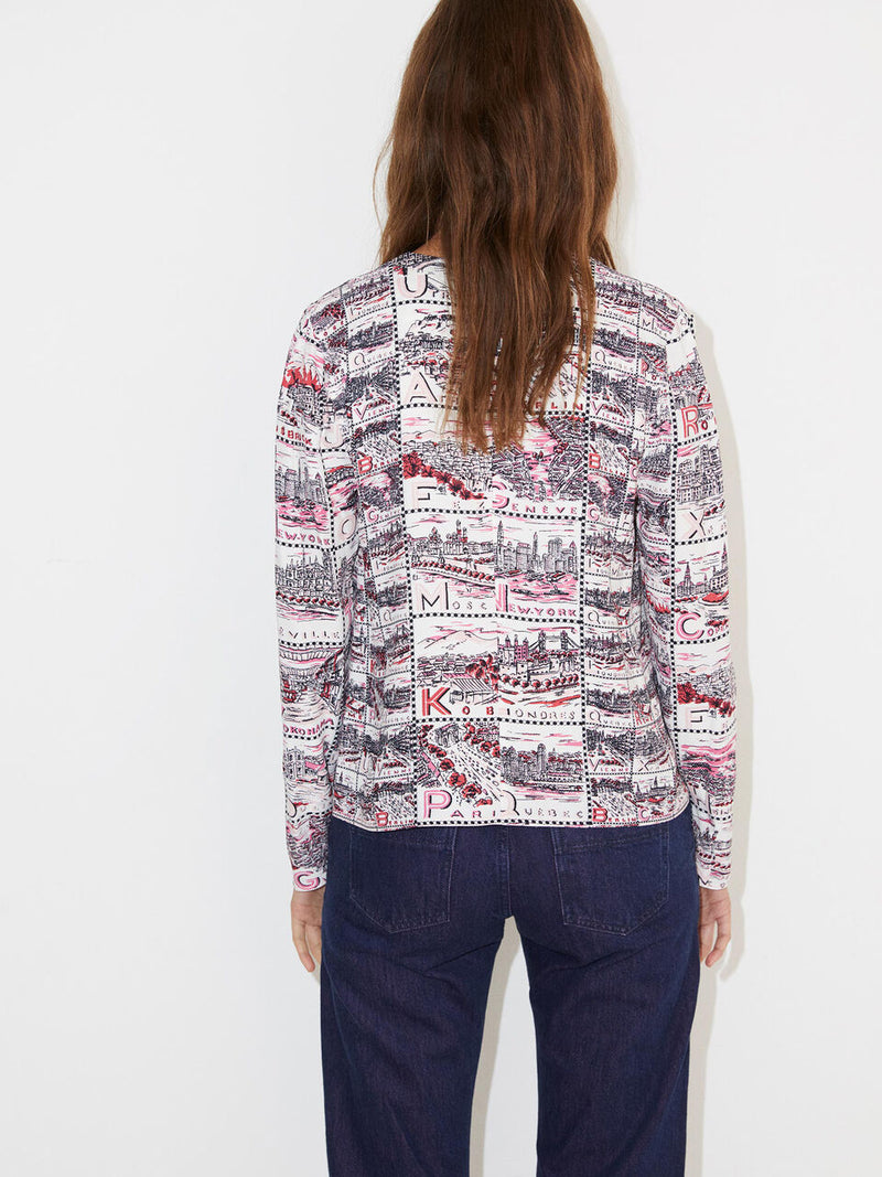 By Malene Birger long sleeved top in vintage scarf inspired statement print