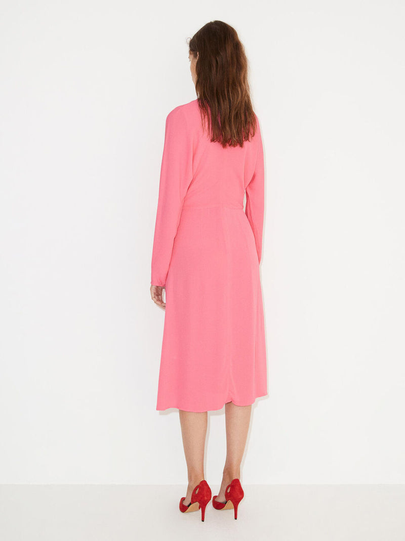 By Malene Birger bright pink long sleeved midi dress with fitted waist