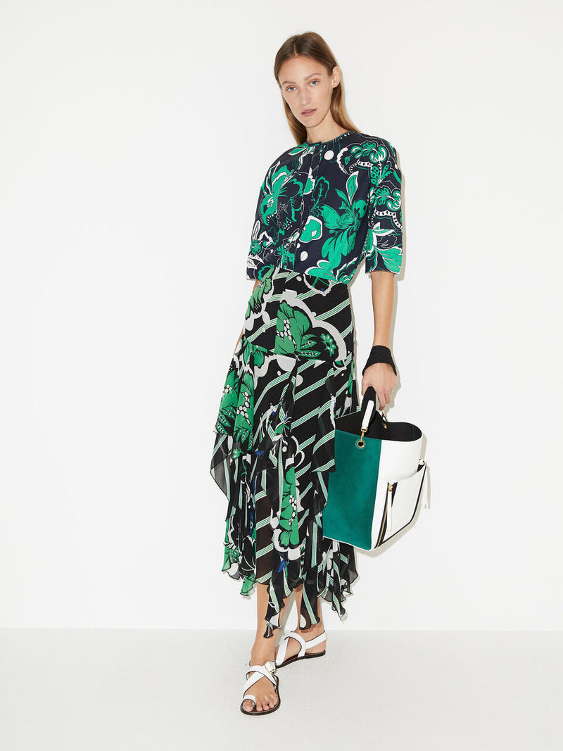 By Malene Birger Mela Floral Print Skirt in Green