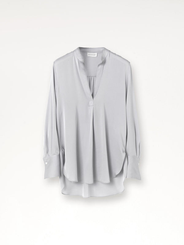 By Malene Birger Mabillon silk open neck shirt in silver grey.