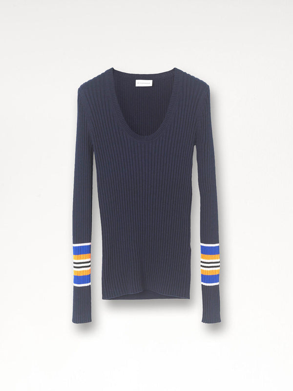 Mavipa Ribbed Sweater with Stripe Sleeve By Malene Birger