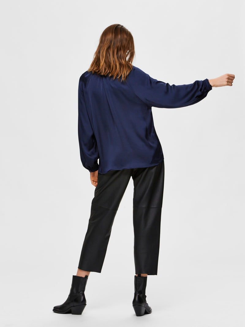 SLFHarmony Navy Satin Blouse by Selected Femme