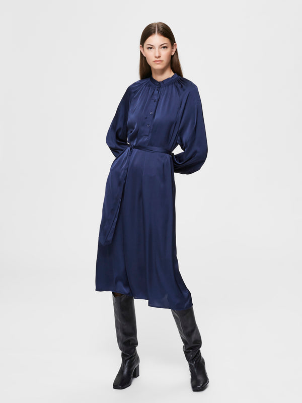SLFHarmony Navy Satin Dress by Selected Femme