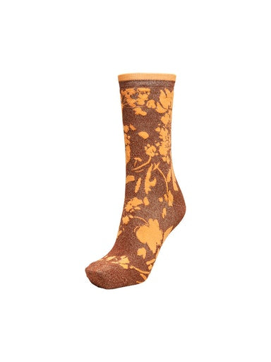 SLFVida floral design sock in paprika