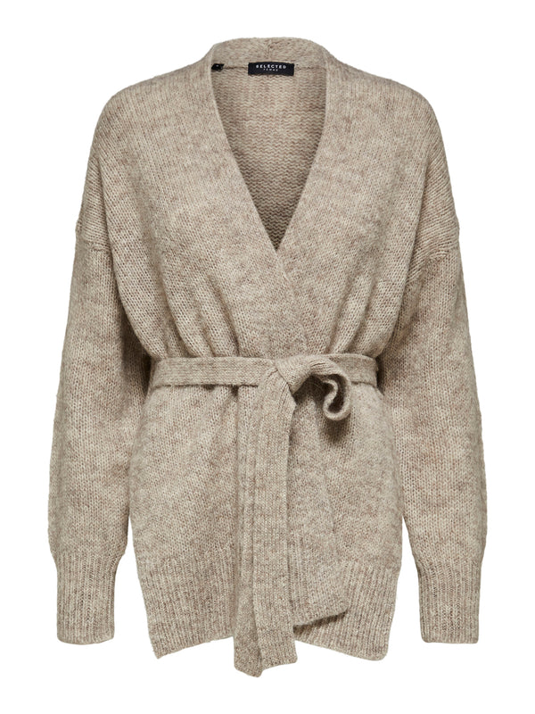 SLFKissi Taupe Belted Cardigan