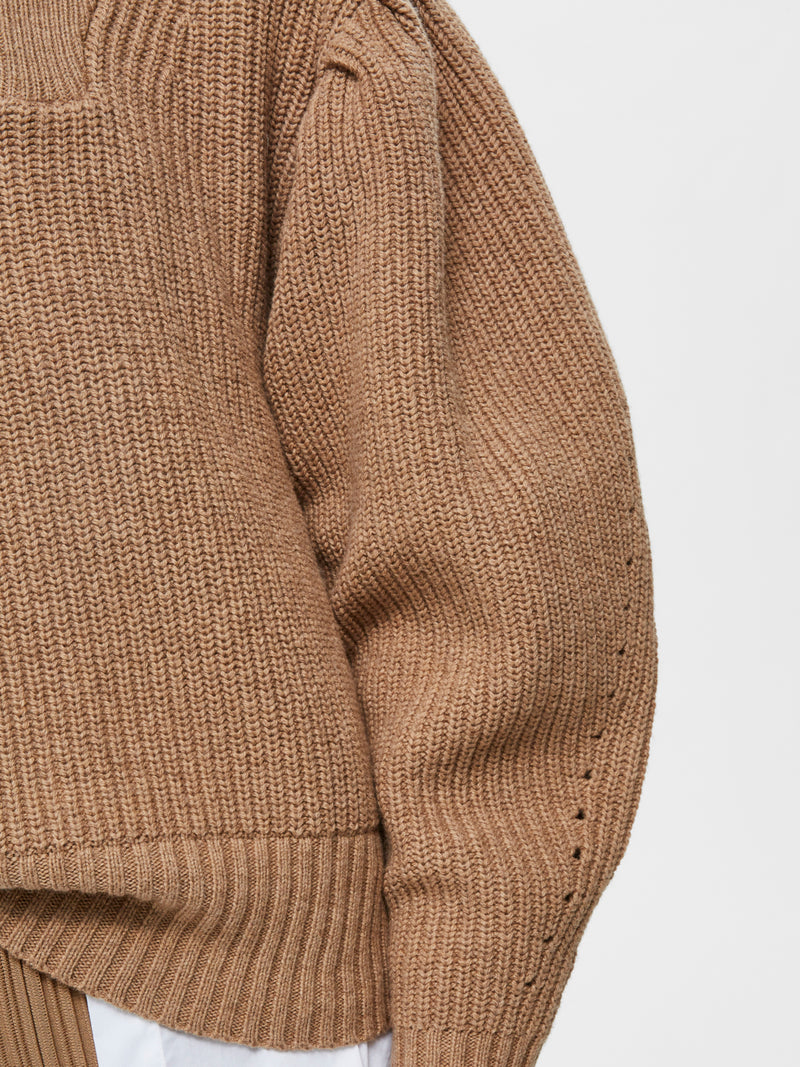 Selected Femme SLFKatty Ribbed Zip Front Sweater in camel.