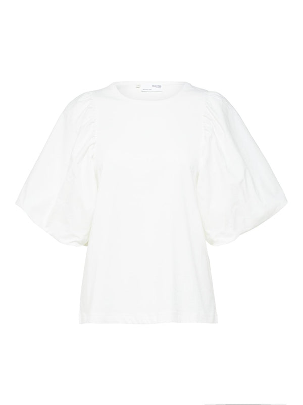Selected Femme SLFAdrianna Puff Sleeve Tee in White