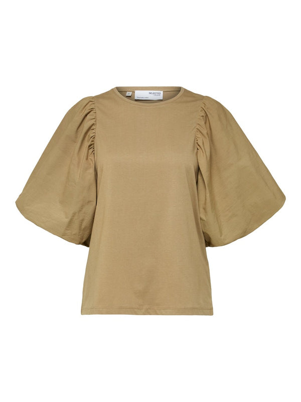 Selected Femme SLFAdrianna Puff Sleeve Tee in Kelp
