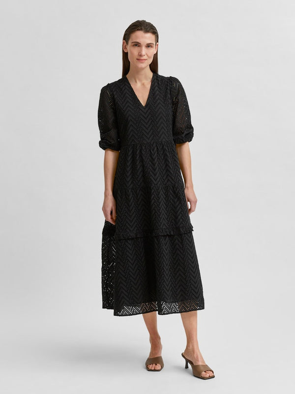 SLFCece Broderie Anglais Dress in Black