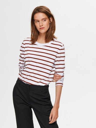 SLFStandard Long Sleeve striped cotton tee in paprika and white