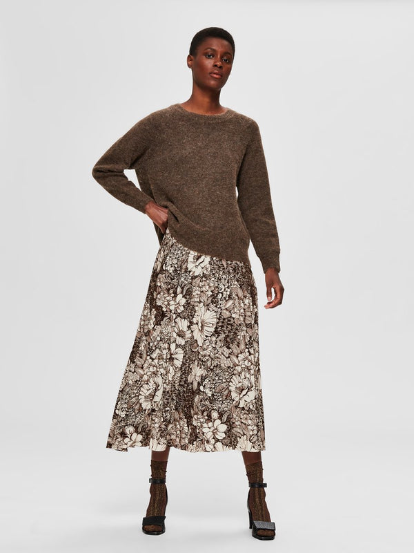 SLFZuri Brown Botanical Print Skirt