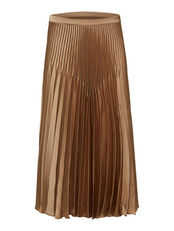 Selected Femme SLFHarmony gold satin pleated skirt