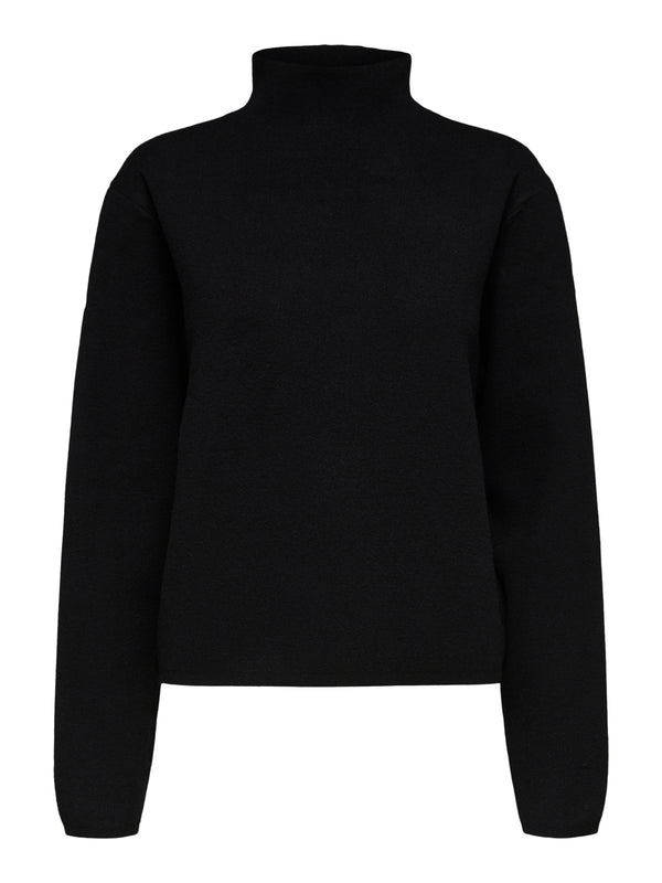 Selected Femme SLFCali Black Knitted Highneck Top