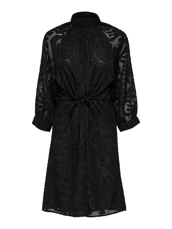 Selected Femme SLFReese Damina black satin devore print shift dress