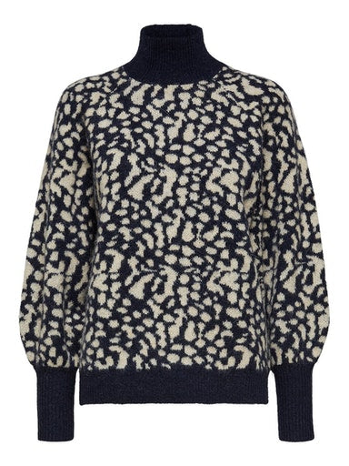 SLFParis Navy Animal Print Sweater