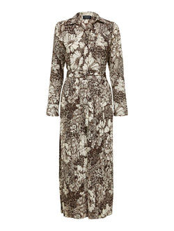 SLFZuri Brown Botanical Print Dress