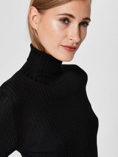 SLFCosta Black Ribbed Roll Neck Sweater