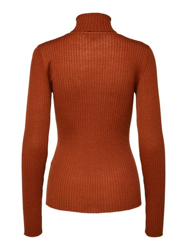 SLFCosta Ribbed Roll Neck Sweater in Paprika