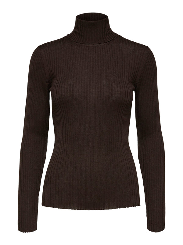 SLFCosta Coffee Bean Ribbed Roll Neck Sweater