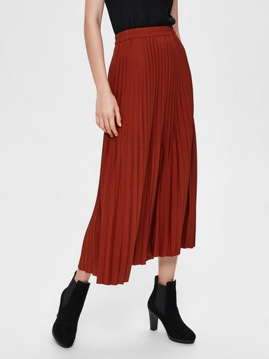 SLFAlexis Pleated Midi Skirt in Smoked Paprika
