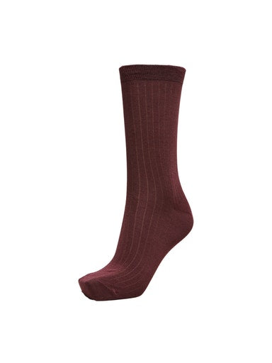 SLFBobby Wine Ribbed Sock