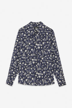 Ottodame Navy Green and White Moon Print Shirt