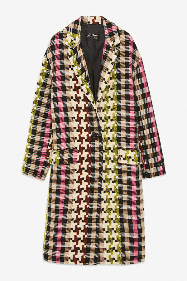 Ottodame woven multi colour checked wool blend coat.