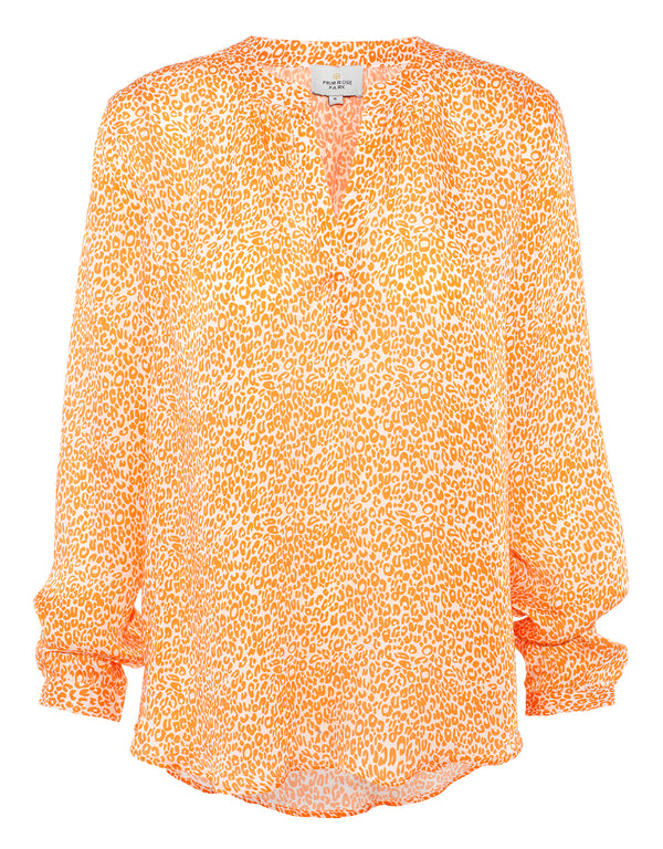 Primrose Park Sandy shirt in mini leopard print orange and cream