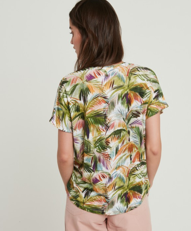 Hartford Tropical V-neck linen printed T-shirt