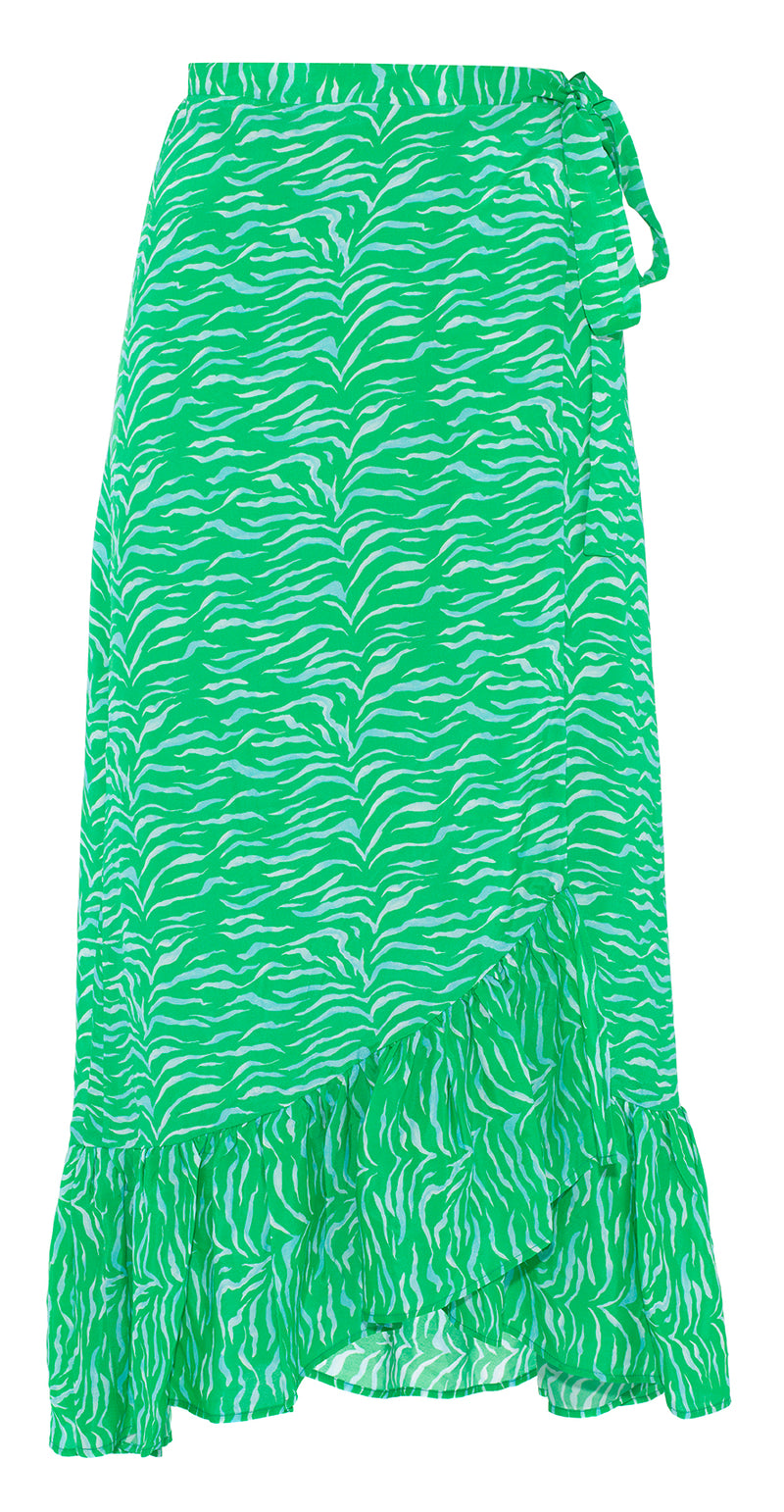 Primrose Park Simi silk blend tiger print wrap midi skirt in emerald green