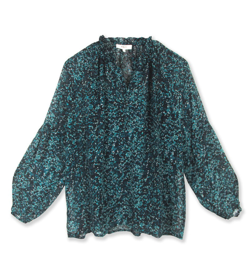 Suncoo Lenita all over print blouse in teal.