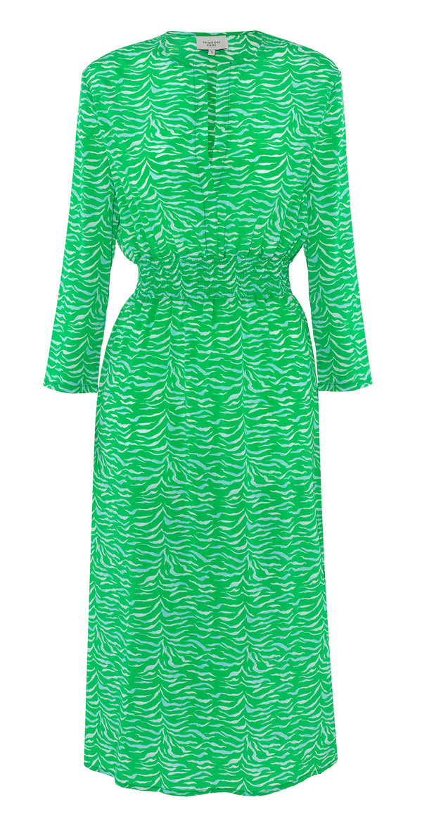 Primrose Park Tiffany tiger print dress in emerald green