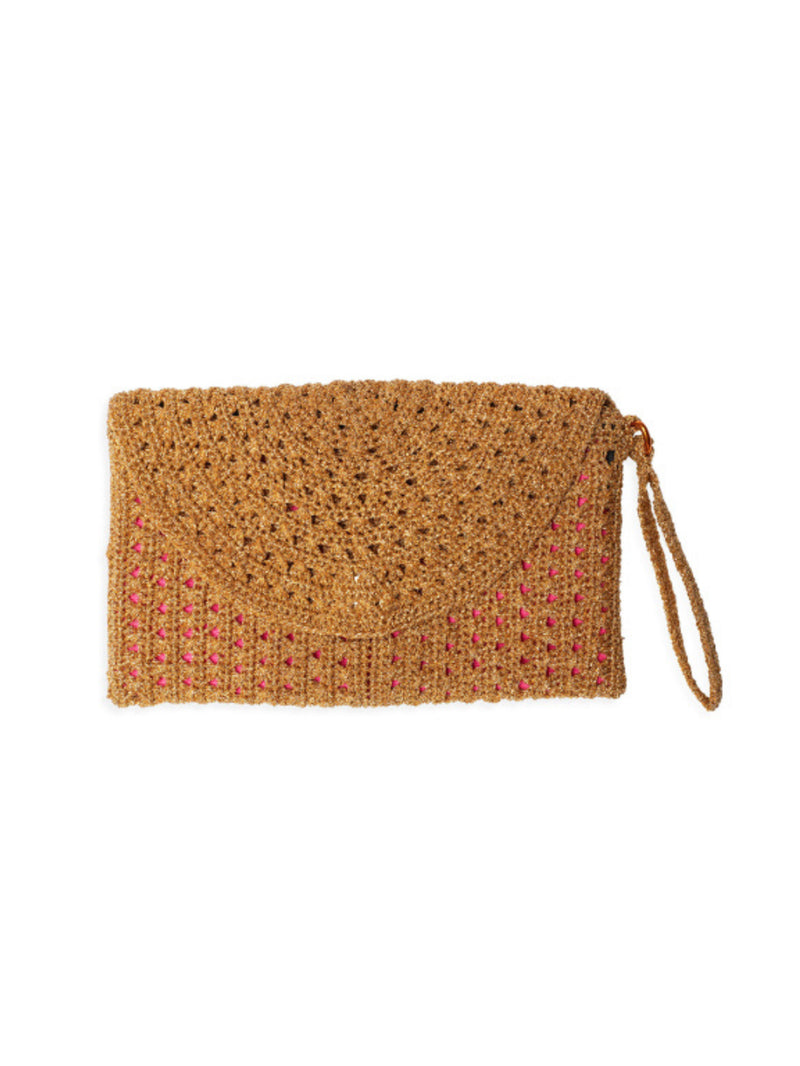 Pretty metallic gold crochet lurex purse with silk lining and wrist strap by Somerville.