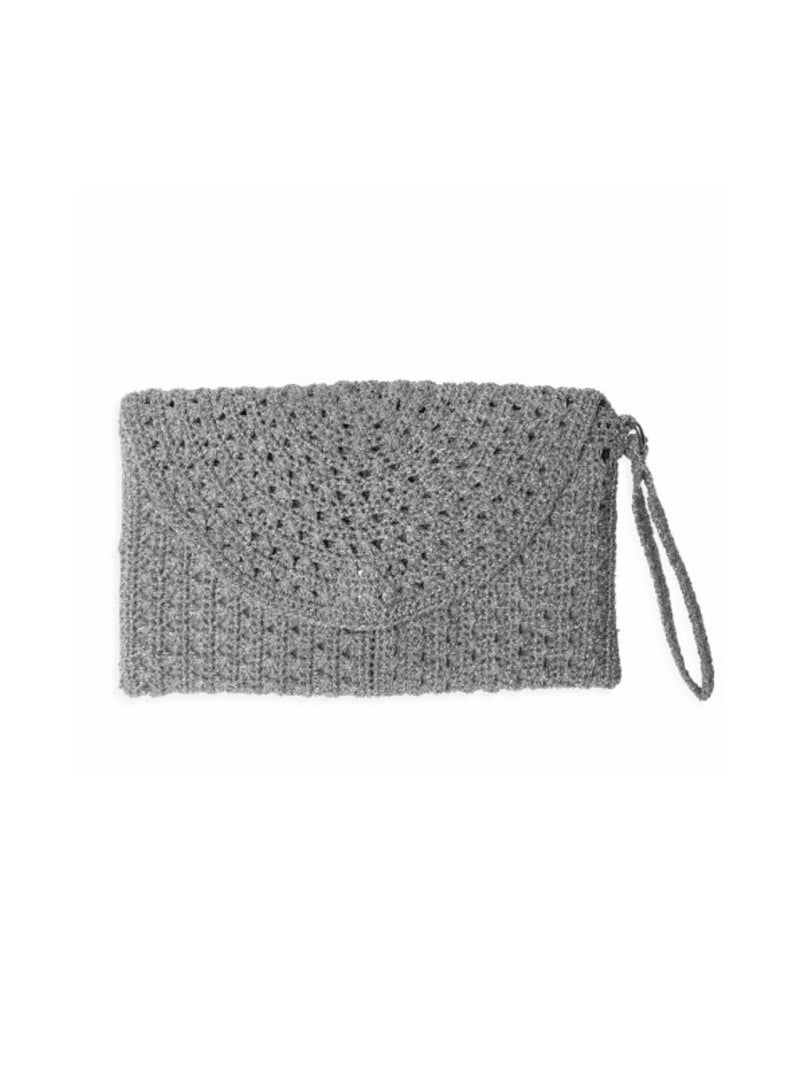 Pretty metallic silver crochet lurex purse with silk lining and wrist strap by Somerville