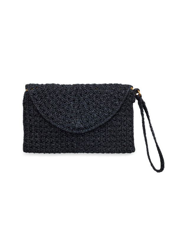 Pretty metallic navy crochet lurex purse with silk lining and wrist strap by Somerville