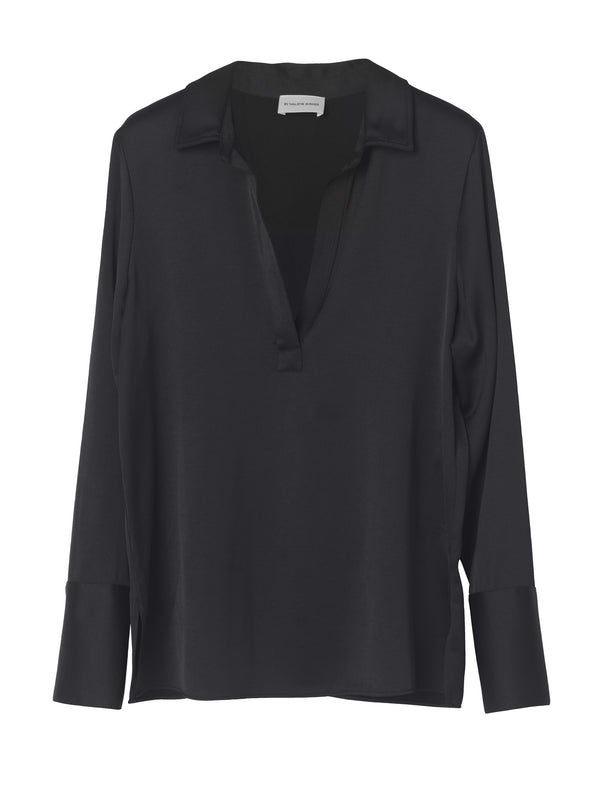 By Malkene Birger Darcel Open Collar Satin Shirt